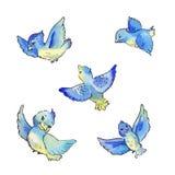 Set of flying blue birds, watercolor illustration. Set of flying blue birds isolated on white stock illustration