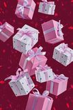 Set of flying boxes with gifts on red background foke. Gifts in boxes. Set of gifts for Christmas, birthday, New Year. Boxes are packed in elegant paper and stock photography