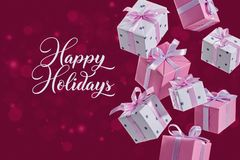 Set of flying boxes with gifts on red background foke. Surprise in colorful flying boxes with bow on red bokeh background. Happy Holidays royalty free stock photography