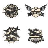 Set of flying club labels and emblems. Aviation labels. Planes icons. Design elements in vector Royalty Free Stock Images