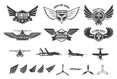 Set of flying club labels and emblems. Planes icons. Avia club emblems. Aeroplane trips. Aviators club logo. Design elements in vector Royalty Free Stock Image