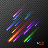 Set of Flying colorful burning comets. Vector illustration Royalty Free Stock Images