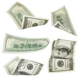 Set flying 100 dollars banknotes isolated on white Stock Photo