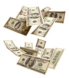 Set of flying dollars Stock Photo