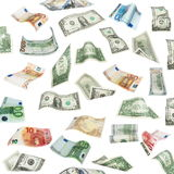 Set of flying dollars and euro banknotes isolated on white background, with clipping path Royalty Free Stock Images