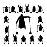 Set flying ghost clad in chain silhouette. Isolated on a white background Stock Image