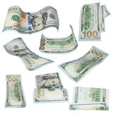 Set flying new 100 dollars banknotes  on white Stock Image