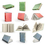Set of flying open books. Royalty Free Stock Photo