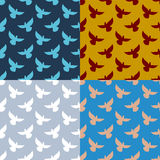 Set of flying pigeons seamless pattern. Flock of dove. Texture o Stock Images