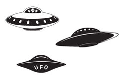 Set of flying saucers Stock Images