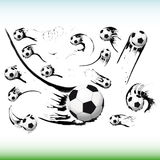 Set of flying soccer balls. Royalty Free Stock Image