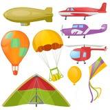 Set of flying trancport - helicopter, aeroplan. Realistic Illustration vector illustration