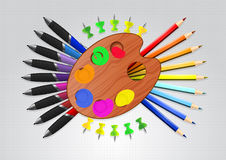 Set fo Art. A set of art supplies, palette, pens, colored pencils, thumbtacks Stock Photo
