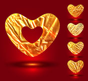 Set of foil hearts on white. Set of golden hearts, made of gray crumpled foill stock illustration