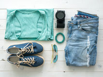 Set of folded casual women clothes top view Royalty Free Stock Images