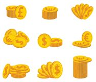 Set of folded gold coins. Currency. Vector illustration. Royalty Free Stock Images