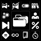 Set of Folder, Compass, Notebook, Infinity, Equal, Percent, Next. Set Of 13 simple editable icons such as Folder, Compass, Notebook, Infinity, Equal, Percent stock illustration