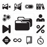Set of Folder, Compass, Notebook, Infinity, Equal, Percent, Next. Set Of 13 simple icons such as Folder, Compass, Notebook, Infinity, Equal, Percent, Next, User stock illustration