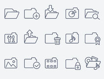 Set of 15 folder icons. Thin lines Stock Images