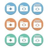 A set of folder icons with a virus of bug. Icon concept for infected folders, antivirus system Royalty Free Stock Image