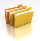 Set of folders. 3D rendered desktop icon of a set of data file folders
