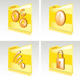 Set of folders with abstract icons for computer Royalty Free Stock Images