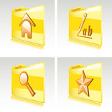 Set of folders with abstract icons for computer Royalty Free Stock Photography