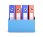 Set of folders in a box isolated on white background. 3d renderi Stock Image