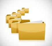 Set of folders on la row. illustration design Stock Images