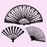 Set of folding fan. Doodle style, sketch illustration vector illustration