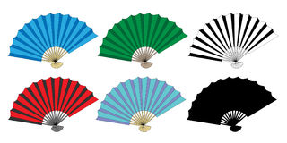 Folding fan vector set Royalty Free Stock Images