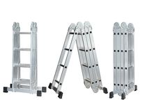 Set of Folding Ladder In the open position on white background. convenient ladders ,Light weight, these ladders fold into a compac. T bundle for storing or stock photos