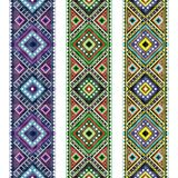 Set Folk art knitted embroidered good by cross-stitch pattern vector illustration