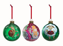 Set of  folk Christmas decoration elements isolated on white bac Royalty Free Stock Photo