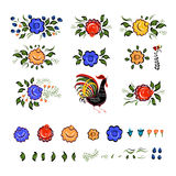 Set of Folk elements. Colorful flowers and cock. Vector illustration royalty free illustration
