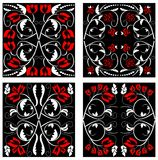 A set of folklore designed tiles in red and black Royalty Free Stock Images