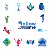 Set of follow me, astronaut helmet, house with wings, culture club, winding road, air mail, west coast, all in one, aloe vera icon Stock Photography