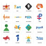 Set of follow me, rise and shine, savage, winding road, muslim crescent, pool company, flute, white spartan, hot deals icons. Set Of 16 simple  icons such as Royalty Free Stock Photography