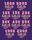 Set with Followers 3D numbers and lettering, great design for any purposes. Banner background. Social network post, vector royalty free illustration