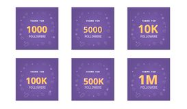 Set of Followers thank you banner. Vector illustration. Set of Followers thank you banners. Ultra violet palette colors. Covers for social media. 1000, 5000 Royalty Free Stock Images