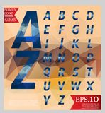 Set font low poly design style alphabet multi color and backgrou Royalty Free Stock Images