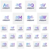 Set of Font with Technology Logo Design Concepts. Technology Letter Logo Icon Vector Template. Icon Symbol stock illustration