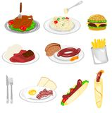 Set of food. Illustration of different kind of food with white background Stock Photos