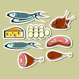 Set of food. Set of stickers. Cheese, fish, eggs and different meat on a light background Stock Images