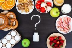 Set of food that cause allergy. Top view royalty free stock image