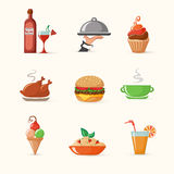 Set of food colorful icons Royalty Free Stock Photography