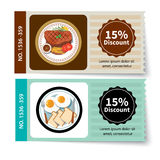 Set of food coupon discount template design Royalty Free Stock Image