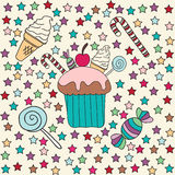 Set of food. Cupcakes, candy and ice cream Stock Photo