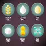 Set of Food Dietary Labels. Gluten Free, Lactose Free, Egg Free, Sugar Free, Peanut Free, GMO Free Royalty Free Stock Image