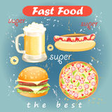 Set of food and drink fast food Stock Image